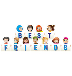 children holding sign for best friends vector image