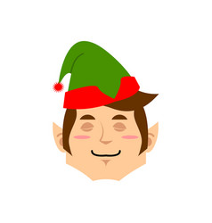 christmas elf sleeping emoji santa helper asleep vector image