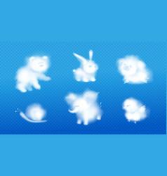 cloud animals realistic fluffy eddies design set vector image