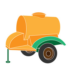 Colour trailer on wheels with yellow barrel vector