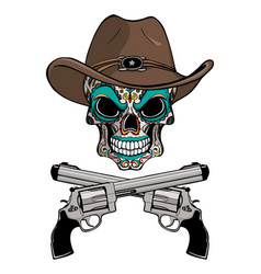 Cowboy skull in a western hat and a pair of vector