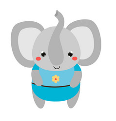 cute elephant in blue clothes cartoon kawaii vector image
