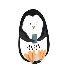 Cute funny emperor penguin with mobile phone vector