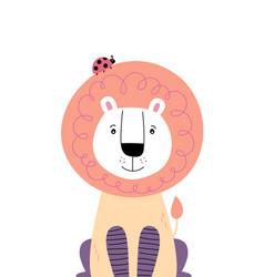 Cute lion with ladybug on head vector