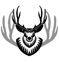 decurated deer head isolated vector image