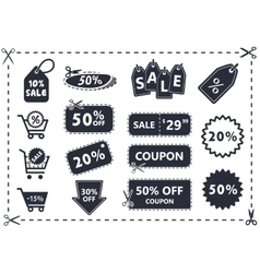 Discount coupons sale icon set vector