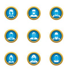 discrete icons set flat style vector image