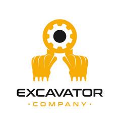 Excavator engine repair logo design vector