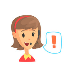 female call center worker and speech bubble with vector image