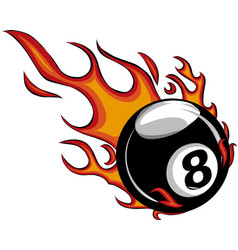 Flaming billiards eight ball cartoon vector