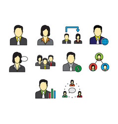 Flat color business people icon set vector