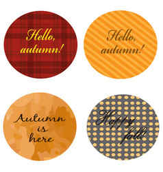 four autumn collection stickers vector image
