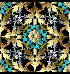 gold baroque 3d seamless pattern ornate damask vector image