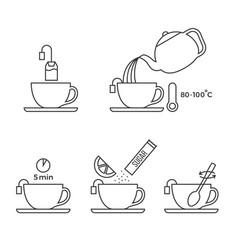 Graphic information about preparation lemon tea vector