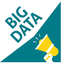 Hand holding megaphone with big data announcement vector