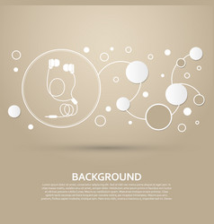headphones icons on a brown background with vector image