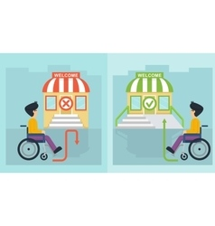 Health care man in wheelchair and store vector