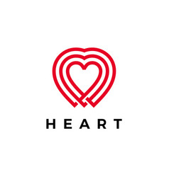 heart logo icon line outline monoline style vector image