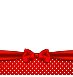 Holiday background with red ribbon and bow vector