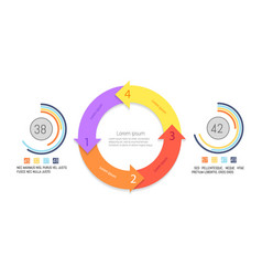 infographics pie diagrams with cycle and arrows vector image