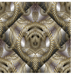 intricate abstract gold 3d seamless pattern vector image