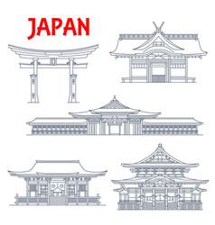 Japan landmarks tokyo temple pagoda torii gates vector