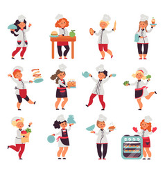 kids cooking cute little chef cartoon funny vector image