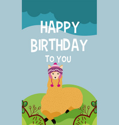 Llama cute animal birthday card vector