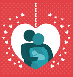 lovely family poster together hearts decoration vector image