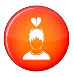 Man with broken red heart over head icon vector