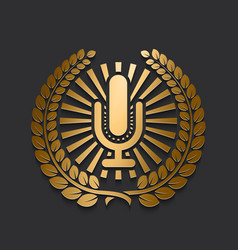 Modern new gold microphone logo vector