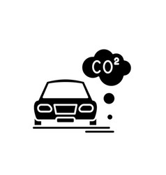 motor vehicle pollution black icon sign on vector image