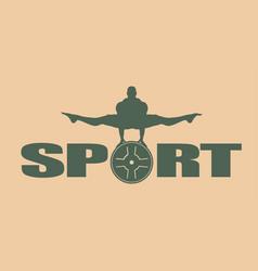 muscular man posing bodybuilding emblem vector image
