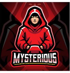 Mysterious esport mascot logo design vector