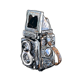 Old twin lens reflex vector