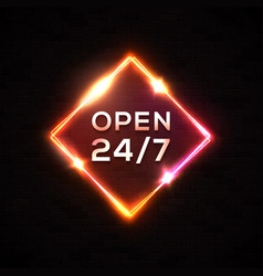 open 24 7 retro night neon sign light square frame vector image