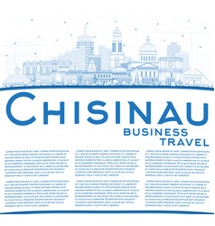 outline chisinau moldova city skyline with blue vector image