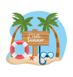 Palms trees with float and snorkel masks with wood vector