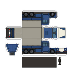 paper model of an old blue truck vector image