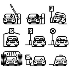 Passenger car in various places vector