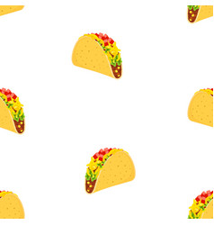 pattern with cartoon tacos vector image