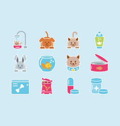 Pet shop grooming food vet care icons set vector