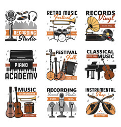 retro music instruments vinyl records shop icons vector image