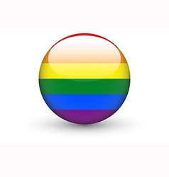 Round icon with rainbow flag vector image