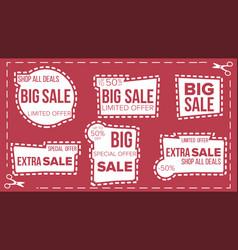 sale banners set scissor cut border vector image