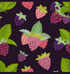 Seamless pattern of raspberry vector