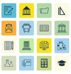 Set 16 school icons includes academy chemical vector