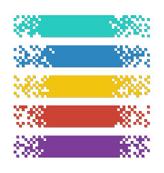 set of color abstract pixel web banners with vector image