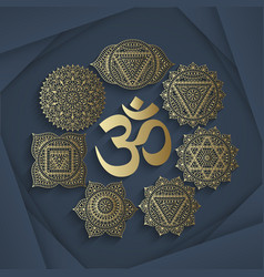 Set of seven chakras and symbol OM vector