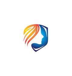 Shield logo and human face vector